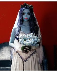 Corpse Bride Emily Halloween Deep Blue Cosplay Wig