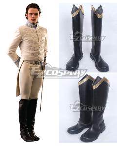 Disney Cinderella Movie 2015 Char Prince Black Shoes Cosplay Boots