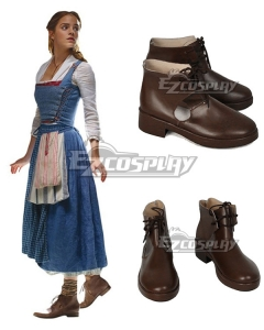 Disney Beauty and the Beast Movie 2017 Belle Brown Cosplay Shoes