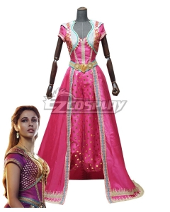 Disney 2019 ALADDIN Princess Jasmine Pink Purple Cosplay Costume