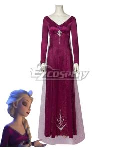 Disney Frozen 2 Elsa Snow Queen Purple Cosplay Costume