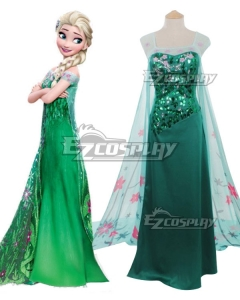 Disney Frozen Snow Queen Elsa Green Dress Cosplay Costume