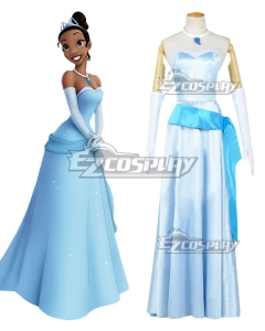 Disney Princess and the Frog Princess Tiana Blue Dress Cosplay Costume