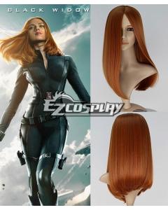 Captain America 2 The Winter Soldier Natasha Romanoff Black Widow Long Straight Auburn Brown Cosplay Wig