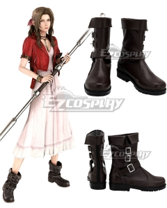 Final Fantasy VII Remake Aerith Gainsborough Brown Cosplay Shoes