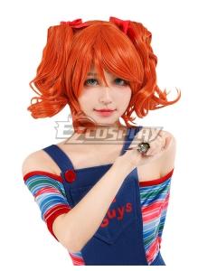 Horror Bishoujo Child's Play Chucky Female Halloween Orange Cosplay Wig