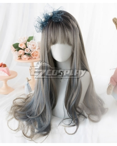 Japan Harajuku Lolita Series Grey Blue Cosplay Wig
