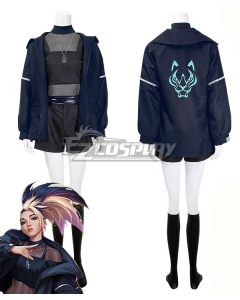 League Of Legends LOL 2020 KDA K/DA THE BADDEST Akali Fullset Black Halloween Cosplay Costume