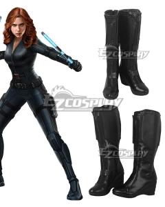 Marvel Future Fight Black Widow Natasha Romanoff Black Shoes Cosplay Boots