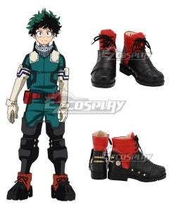 My Hero Academia Boku No Hero Akademia Izuku Midoriya Deku Black Red Cosplay Shoes