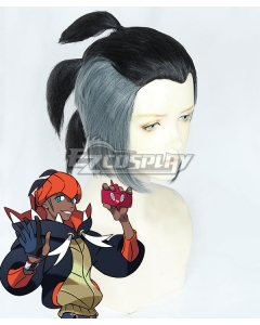 Pokemon Pokémon Sword And Shield Raihan Black Grey Cosplay Wig - No Kerchief