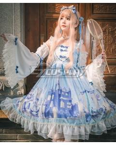 Sweet Lolita OP Snow Country Girl Light Blue Long Sleeve One Piece Lolita Dress