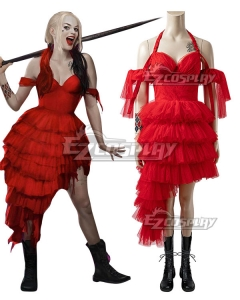 The Suicide Squad Harley Quinn 2021 Movie Red Dress Cosplay Costume