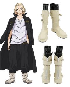 Tokyo Revengers Manjiro Sano Light Yellow Shoes Cosplay Boots