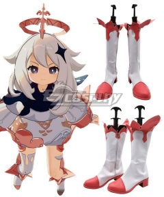 Genshin Impact Paimon Pink Shoes Cosplay Boots