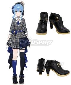 Virtual YouTuber Hoshimachi Suisei Black Cosplay Shoes