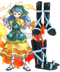 Touhou Project Haniyasushin Keiki Blue Shoes Cosplay Boots