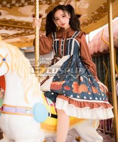 Classic Lolita JSK Christmas Afar Brown Blue White Suspender Dress Jumper Skirt Lolita Dress