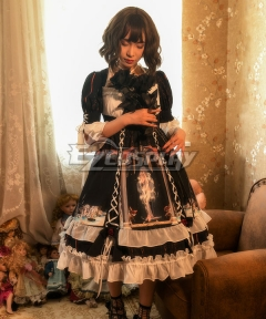 Classic Lolita OP Narkissos Black Medium Sleeve One Piece Lolita Dress
