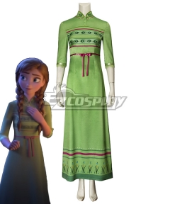 Disney Frozen 2 Anna Green Cosplay Costume