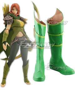 Dota 2 Windranger Green Shoes Cosplay Boots