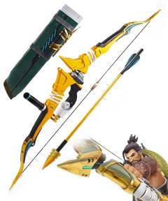 Overwatch OW Hanzo Shimada Golden Bow and Two Arrow Cosplay Weapon Prop