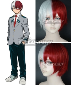 My Hero Academia Boku no Hero Akademia Shoto Todoroki Red White Cosplay Wig - B Edition