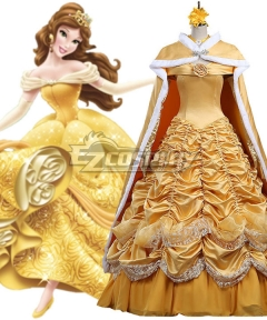 Disney Beauty and The Beast Belle Yellow Dress Cosplay Costume - A Edition
