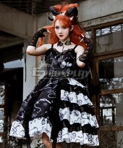 Gothic Lolita JSK the Vampire Diaries Black White Suspender Dress Halloween Jumper Skirt Lolita Dress