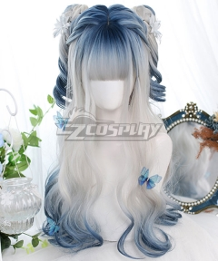 Japan Harajuku Lolita Series Ice song White Blue Cosplay Wig
