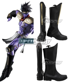 JoJo's Bizarre Adventure Jotaro Kujo Star Platinum Black Shoes Cosplay Boots