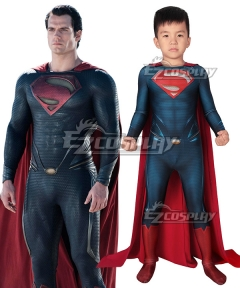 Kids DC Superman : Man of Steel Clark Kent Superman Zentai Jumpsuit Cosplay Costume