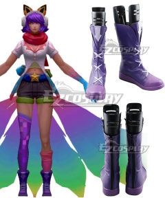 League Of Legends LOL Fifth Anniversary Arcade Ahri Skins Purple Shoes Cosplay Boots