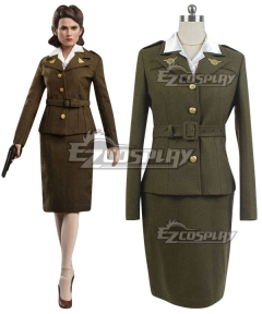 Marvel Captain America Peggy Carter Cosplay Costume