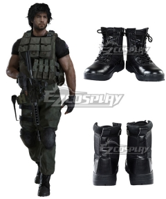 Resident Evil 3 Remake Carlos Oliveira Black Cosplay Shoes