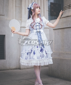 Sweet Lolita JSK Gemini Diamond Pattern Blue White Suspender Dress Jumper Skirt Lolita Dress