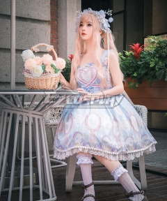 Sweet Lolita JSK Unicorn Stars Light Blue Pink Suspender Dress Jumper Skirt Lolita Dress