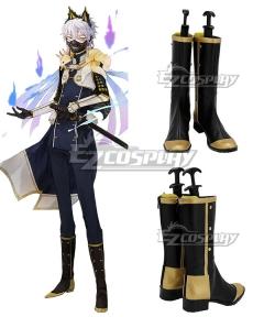 Touken Ranbu Nakigitsune Kiwame Black Shoes Cosplay Boots
