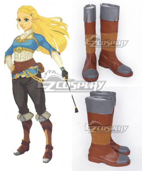 The Legend Of Zelda Breath Of The Wild Princess Zelda Brown Shoes Cosplay Boots