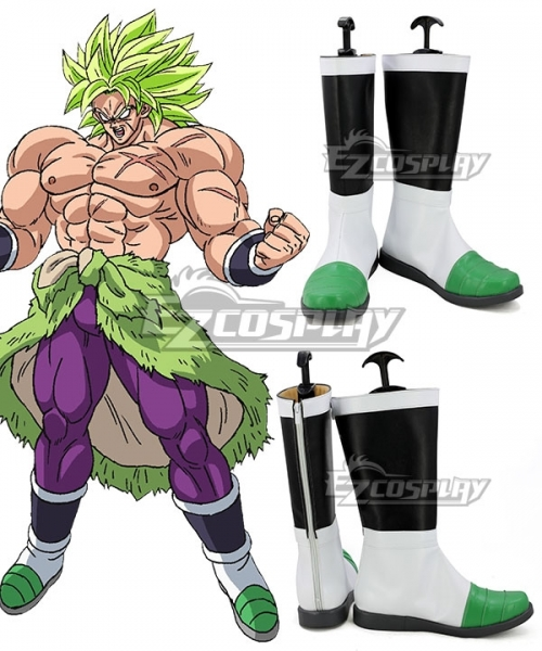 Broly Broly White Green Cosplay Shoes