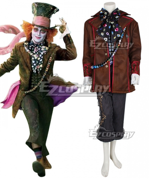 2016 Alice In Wonderland Through The Looking Glass Mad Hatter Cosplay Costume No Brooch