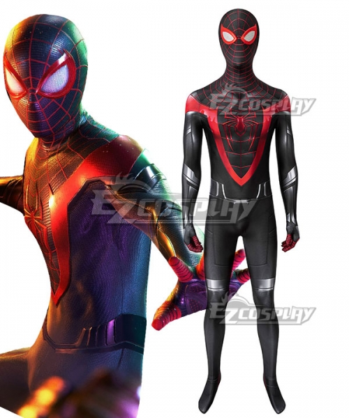 2020 Spider Man Miles Morales Cosplay Costume Halloween Spandex Zentai Blue Jumpsuit