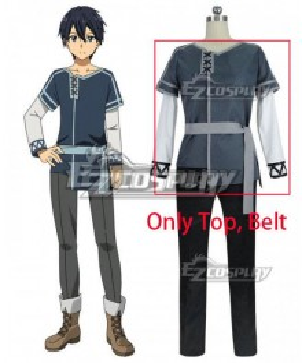 Sword Art Online Alicization SAO Kirito Cosplay Costume - Only Top, Belt