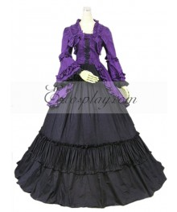 Purple Long Sleeve Gothic Lolita Dress-LTFS0057