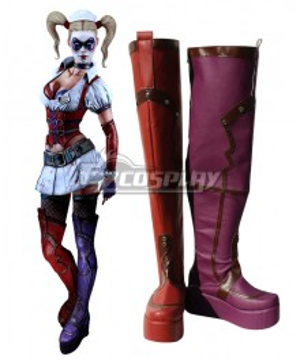 DC Comics Batman Harley Quinn Arkham City Red Shoes Cosplay Boots