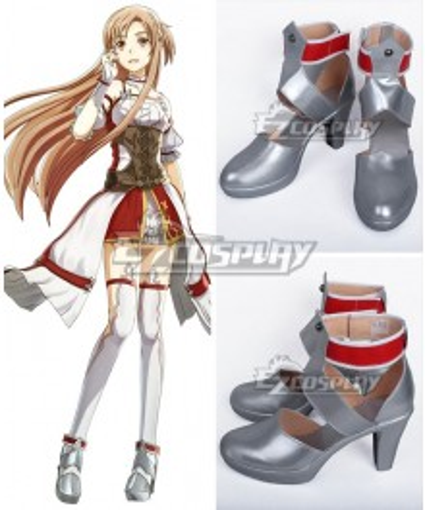 Sword Art Online Hollow Realization SAO Yuuki Asuna Yuki Asuna Game Silver Cosplay Shoes