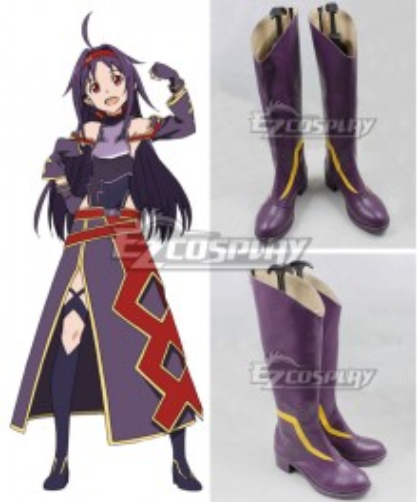 Sword Art Online ALfheim Online SAO ALO Konno Yuuki Mother's Rosario Purple Shoes Cosplay Boots