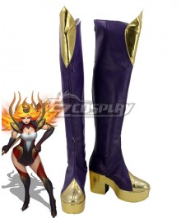 League of Legends LOL Elementalist Lux Fire Concept Purple Shoes Cosplay Boots