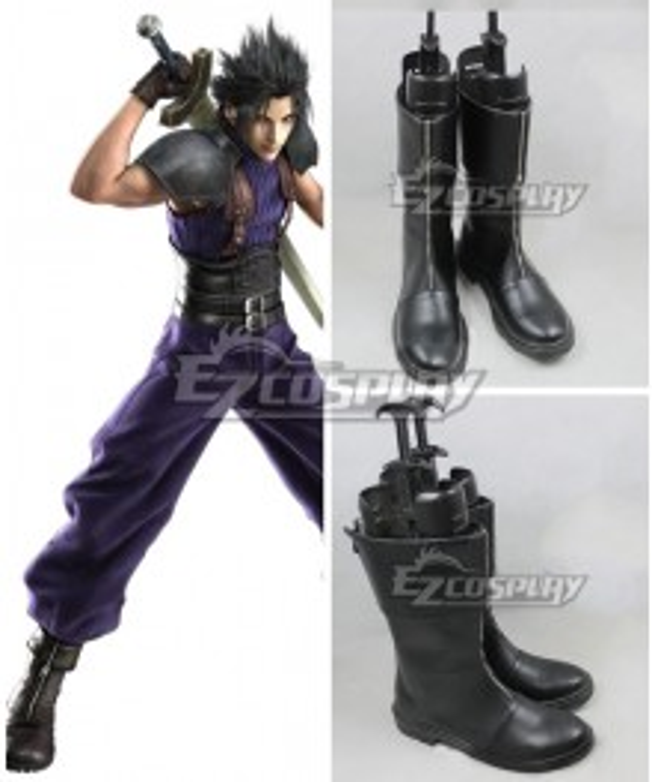 Crisis Core:Final Fantasy VII Zack Fair Black Shoes Cosplay Boots