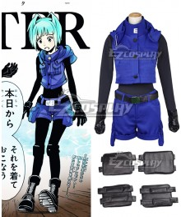 Assassination Classroom Ansatsu Kyoushitsu Kaede Kayano Blue Battle Suit Uniform Cosplay Costume
